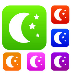 Moon and stars set collection vector