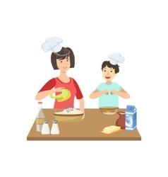 Mother and child cooking together vector