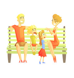 parents son and daughter sitting on park bench vector image vector image