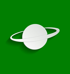 Planet in space sign paper whitish icon vector