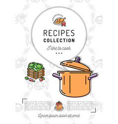 Recipe book menu template cookbook a4 size vector