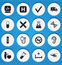 Set of 16 editable clinic icons includes symbols vector