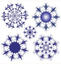 set violet snowflakes vector image