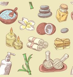 Spa wellness beauty seamless pattern aromatherapy vector