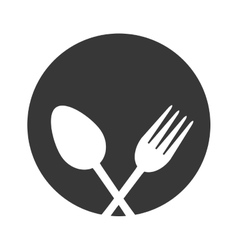 spoon and fork utensil kitchen label vector image vector image