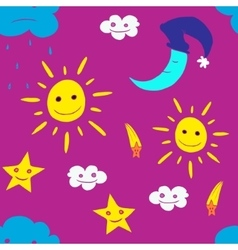 Star sun cloud moon vector