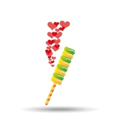 sweet lollipop with hearts red icon vector image vector image