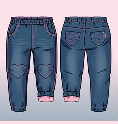 tech sketch of denim pants vector image
