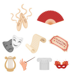 theater set icons in cartoon style big collection vector image vector image