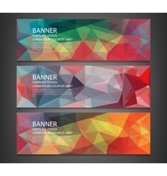 Three banners with abstract multicolored polygonal vector image vector image