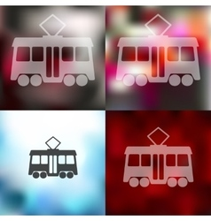 Tram icon on blurred background vector
