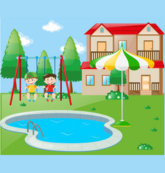 Two boys on swing by the pool vector