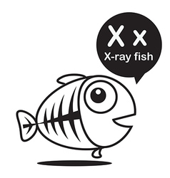 X x ray fish cartoon and alphabet for children to vector