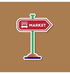 paper sticker on stylish background sign of market vector image