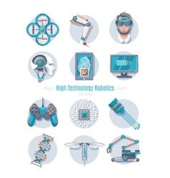 Hi-Tech Robotics Icon Set vector image