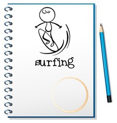A notebook with a sketch of a man surfing vector image