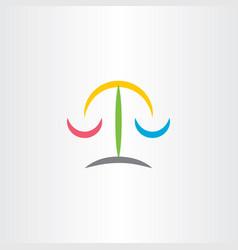 Law judge scale icon logo vector
