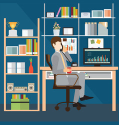 Business man talking on the phone in office vector