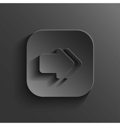 Arrow icon - black app button vector image