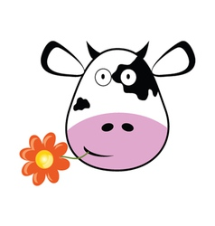 Cow head with a flower vector