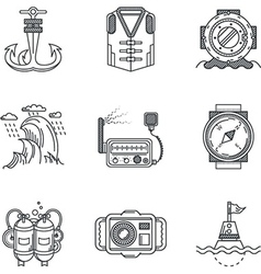 Snorkeling black line icons vector