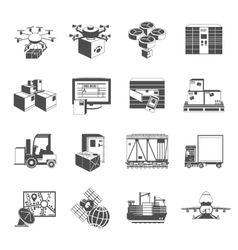 New logistic icons set black vector