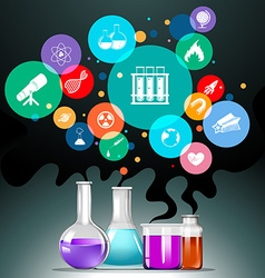 Infographic with science equipment vector
