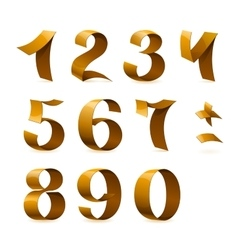 Isolated shiny golden ribbon numbers on white vector