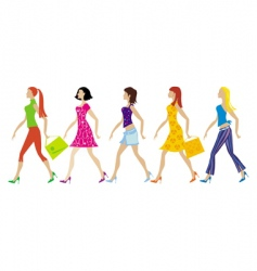 group of young ladies vector image
