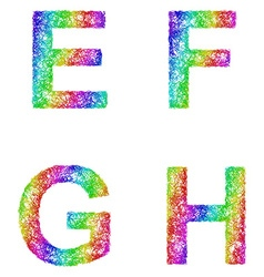 Rainbow sketch font set - letters e f g h vector