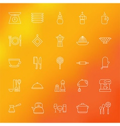 Kitchen appliances and cooking line icons set over vector