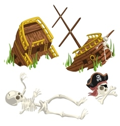 Ancient ruined ship and skeleton pirate vector