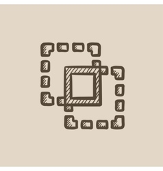 Crop sketch icon vector