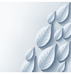 Abstract background with stylish gray 3d leaf vector image vector image