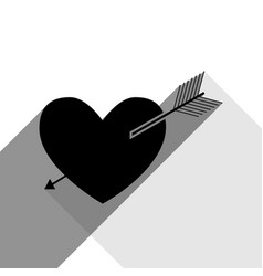 arrow heart sign black icon with two flat vector image