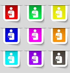 Broken arm disability icon sign set of vector