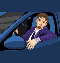 Businessman driving car vector