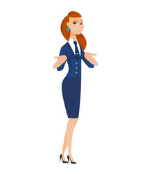 Caucasian confused stewardess shrugging shoulders vector