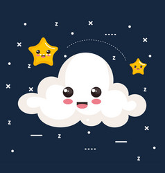 Cloud and star icon sleep night dreams symbol vector