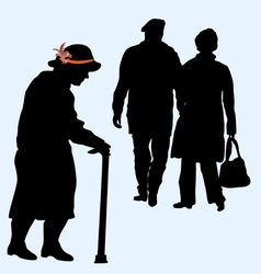 Couples silhouettes running and an old woman vector