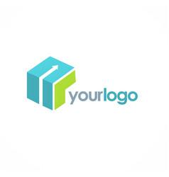 cube arrow logo vector image vector image