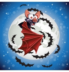 Cute cartoon bat flying in the night sky on the vector