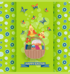 cute easter background in paper art style vector image vector image