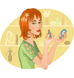 Cute girl doing her make up vector image