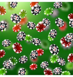 falling green and red poker black chips vector image vector image