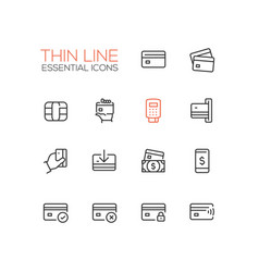 finance - modern single thin line icons set vector image vector image
