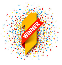 first winner number one with red ribbon and vector image