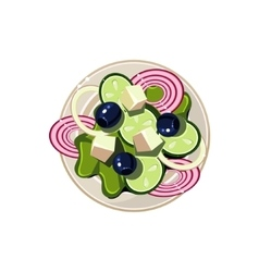 Greek salad with vegetables and cottage cheese vector