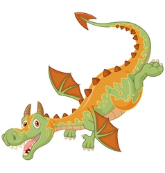 Happy cartoon dragon flying vector