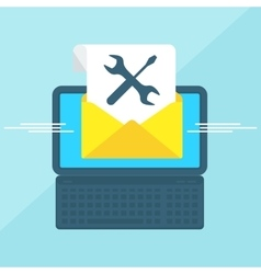 Laptop with envelope tools vector